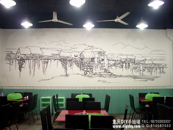 火锅黑白线描手绘墙; ◆重庆手绘墙-重庆墙绘-重庆手绘墙公司-重庆