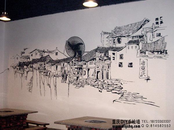 重庆老火锅店墙绘素材