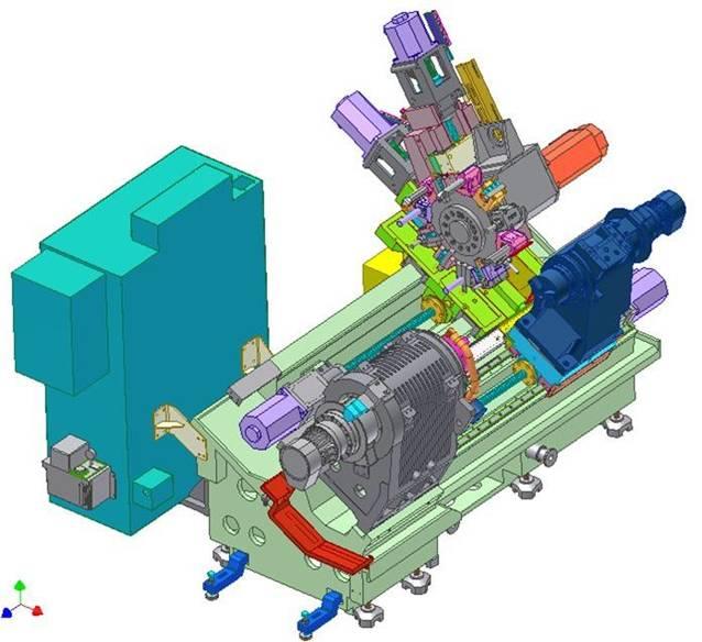 下图:台湾产多轴车铣复合机床结构  与常规数控加工工艺相比,复合加工