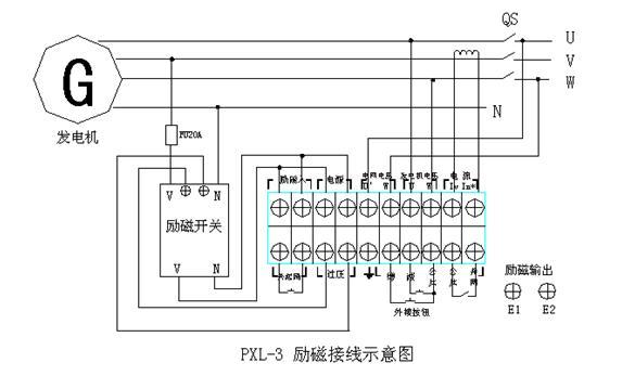 接线示意图如上:发电机电压(400v线电压)接u