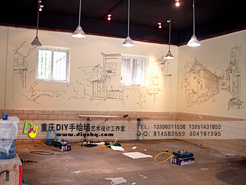 老火锅墙绘,墙绘图案素材,墙绘素材_点力图库