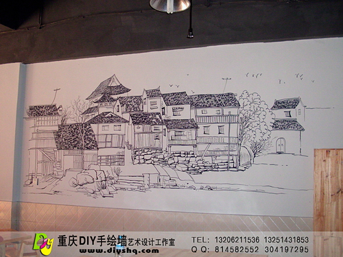 【重庆手绘墙·手绘墙图片】地瓜老火锅(曾家店)线描