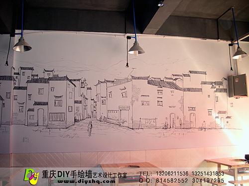 【黑白线描速写·古镇老街风景 - 动手网